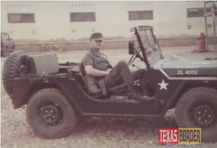 First Lieutenant Robert C. Vackar in a military jeep in Qui Nhon, Vietnam 1969