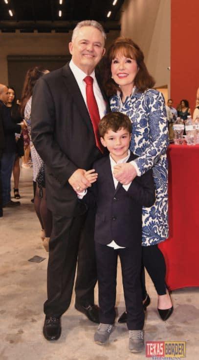 Robert and Janet Vackar with Walt, one of four grandchildren. Photo taken during the Grand Opening Reception of the Bert Ogden Arena on August 25, 2018. Photo by Roberto Gonzalez.
