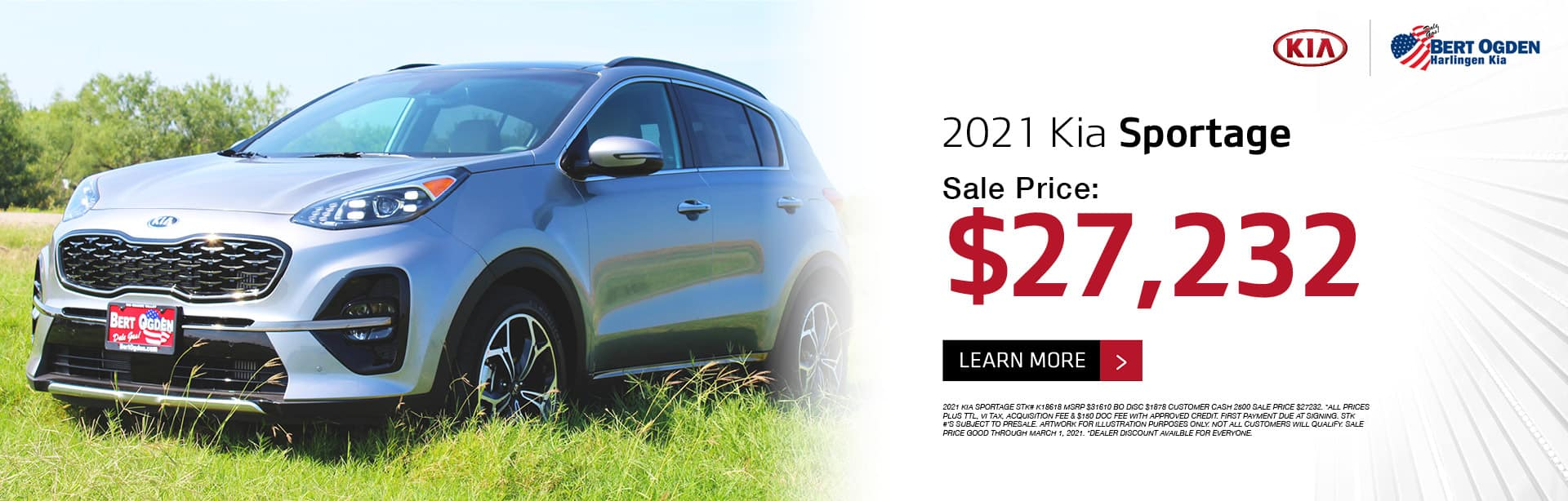 2021 Kia Sportage February 2021 Offer - Bert Ogden Harlingen Kia in Harlingen, Texas
