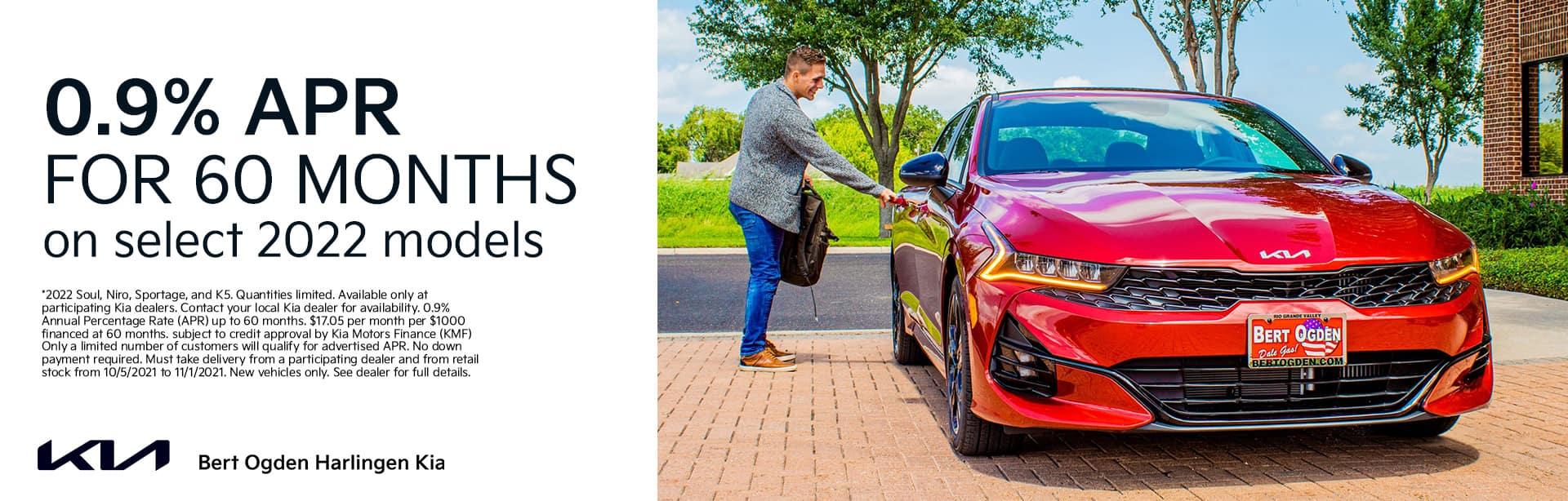 0.9% APR on Select 2022 Kia Models   Bert Ogden Harlingen Kia in Harlingen, Texas