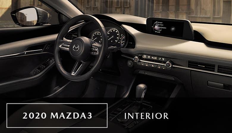 An inside view of the 2020 Mazda3, on sale now at Bert Ogden Mazda Edinburg in Edinburg, TX