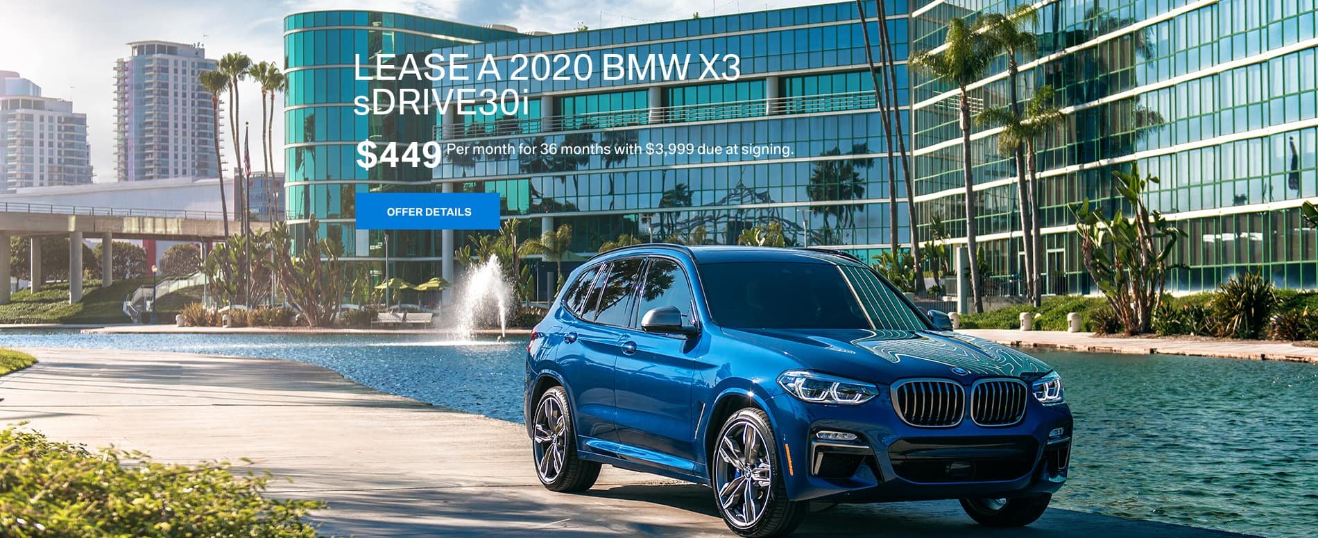 Lease a 2020 BMW X3 sDRIVE30i for $449 per month at BMW of Fort Walton Beach