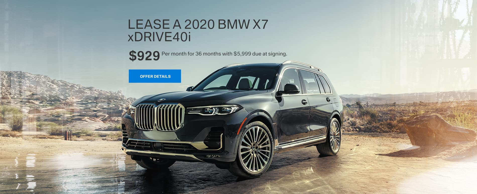 Lease a 2020 BMW X7 xDRIVE40i for $929 per month at BMW of Fort Walton Beach