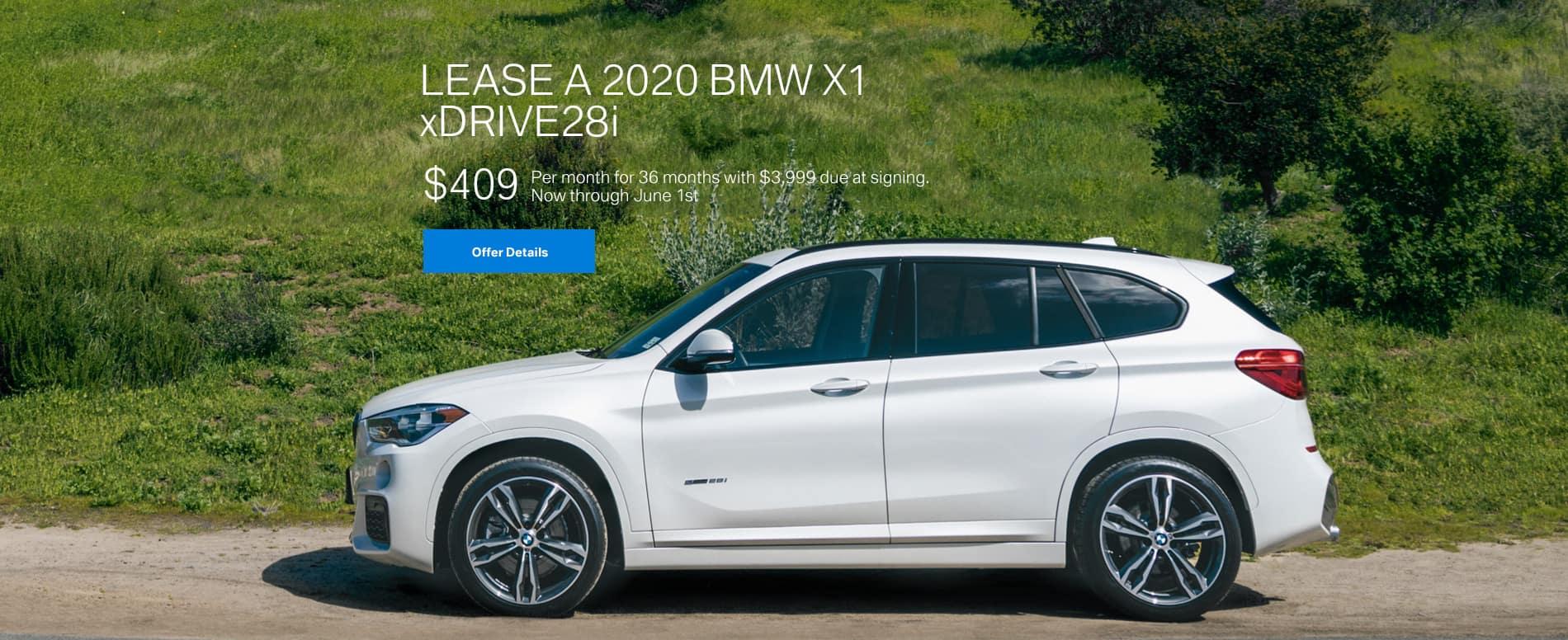 Lease a 2020 BMW X1 xDrive28i $409/mo.