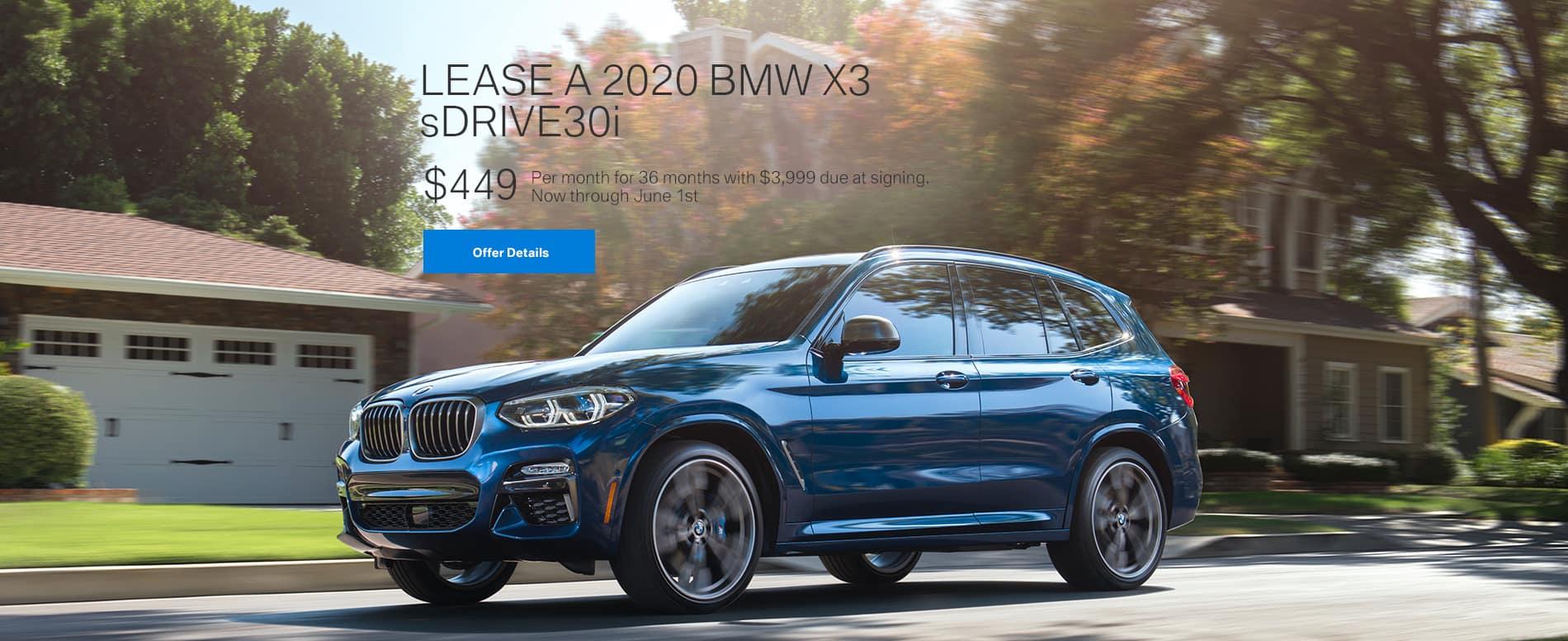 Lease a 2020 BMW X3 sDrive30i $449/mo.
