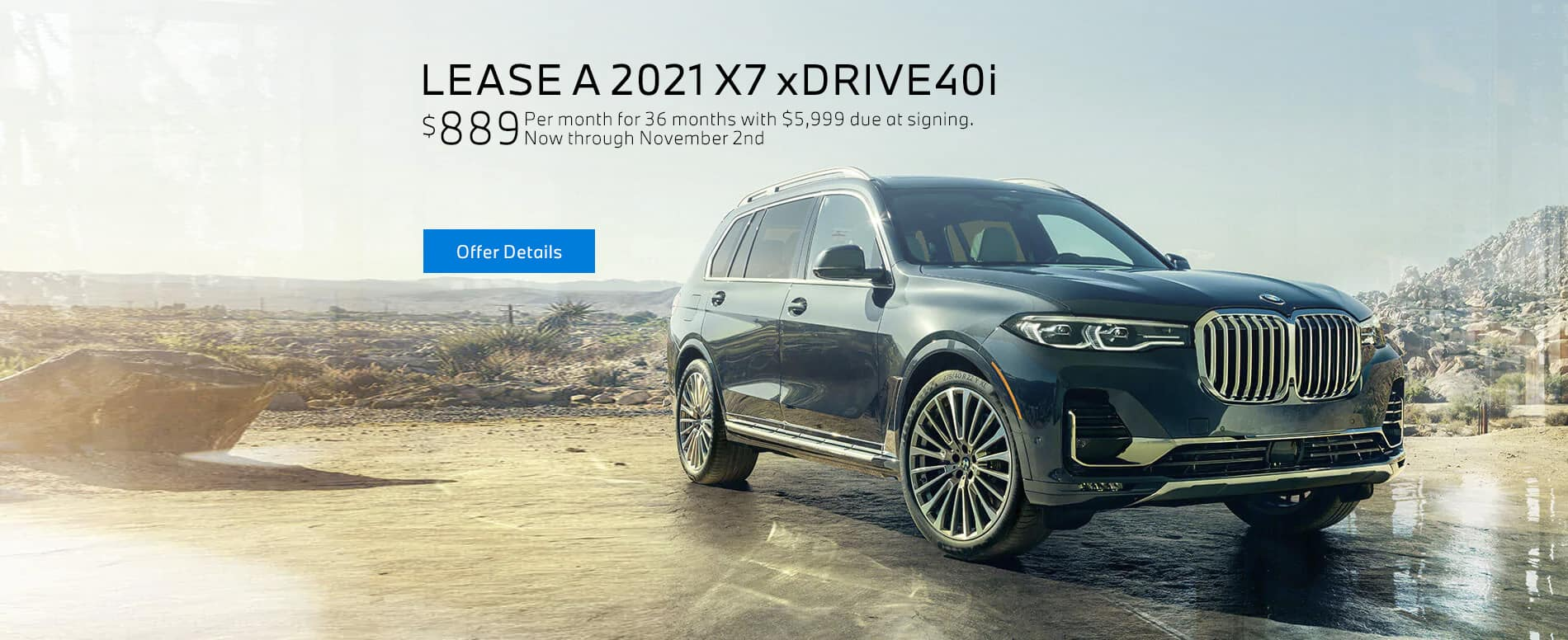 Lease a 2021 BMW X7 xDRIVE40i for $889/mo at BMW of Fort Walton Beach