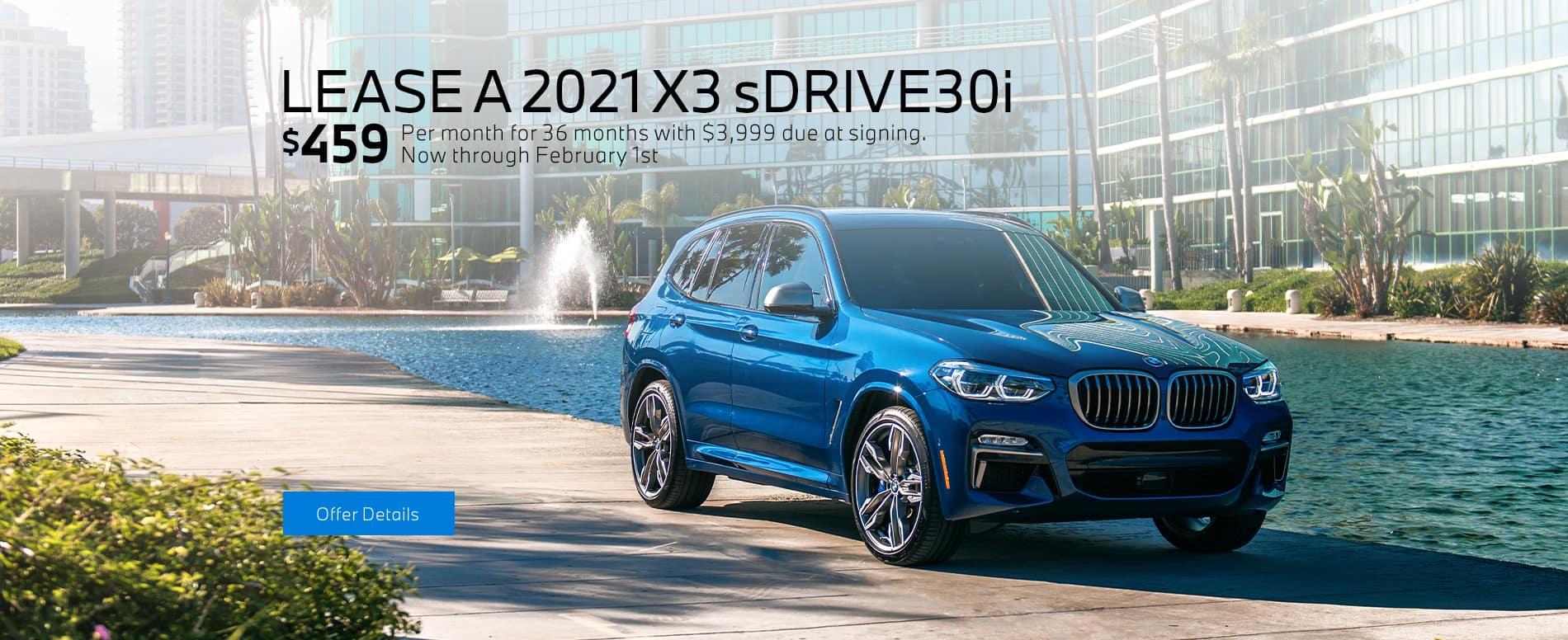 LEASE A 2021 BMW X3 sDRIVE30i