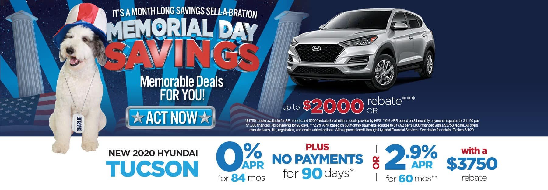 New 2020 Hyundai Tucson 0% APR for 84 months. Click here to view inventory