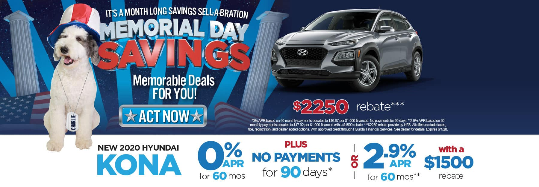 New 2020 Hyundai Kona 0% APR for 60 months. Click here to view inventory