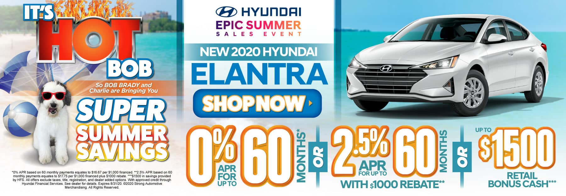 New 2020 Hyundai Elantra - 0% APR for up to 60 months or 2.5% APR for 60 months with $1000 rebate or up to $1500 retail bonus cash - Click to View Inventory