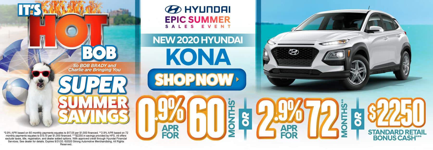 New 2020 Hyundai Kona - 0.9% APR for 60 months or 2.9% APR for 72 months or $2250 standard retail bonus cash - Click to View Inventory