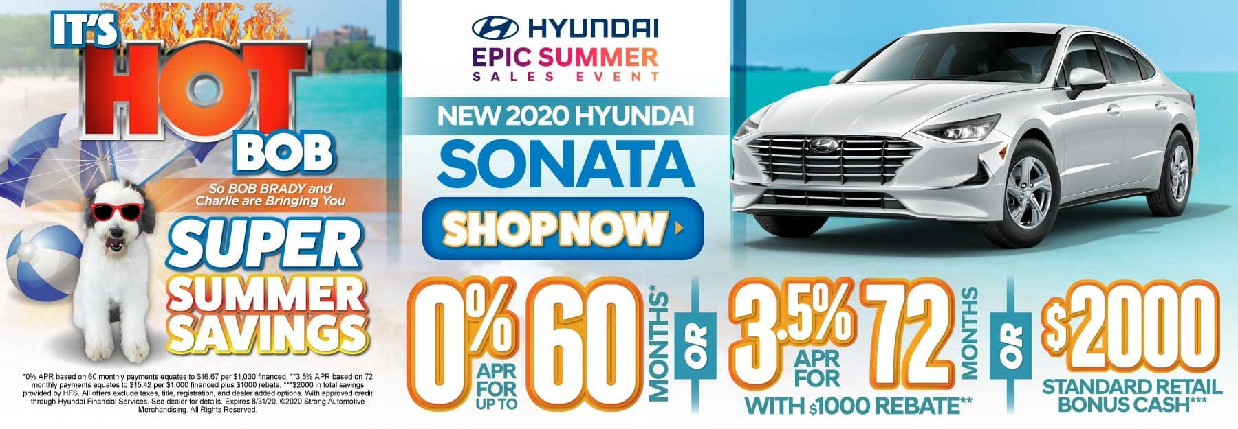 New 2020 Hyundai Sonata - 0% APR for up to 60 months or 3.5% APR for 72 months with $1000 rebate or $2000 standard retail bonus cash - Click to View Inventory