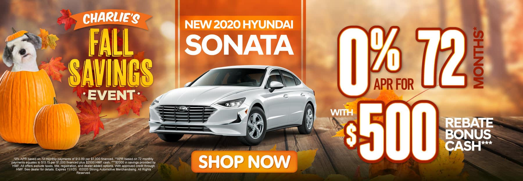 2020 Hyundai Sonata 0% for 72 months with $500 Rebate Bonus Cash - click here to view inventory