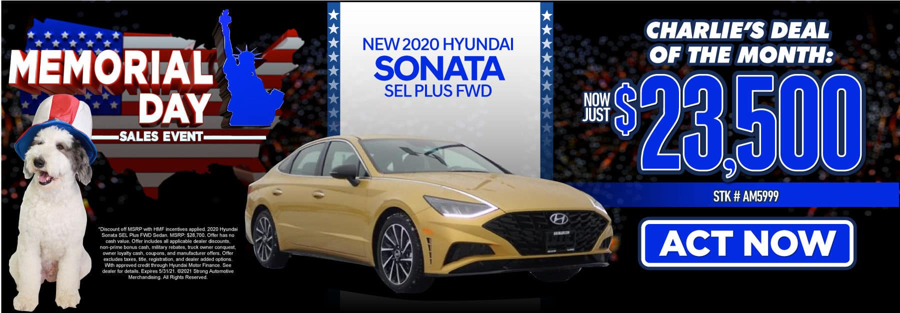 New 2020 Hyundai Sonata | Charlie's Deal of the Month: Now Just $23,500 | Act Now