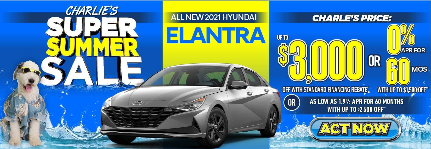 2021 Elantra up to $3000 off with standard financing rebate or 0% APR for 60 months with up to $1500 off or as low as 1.9% APR for 60 months with up to $2500 off. Act Now.