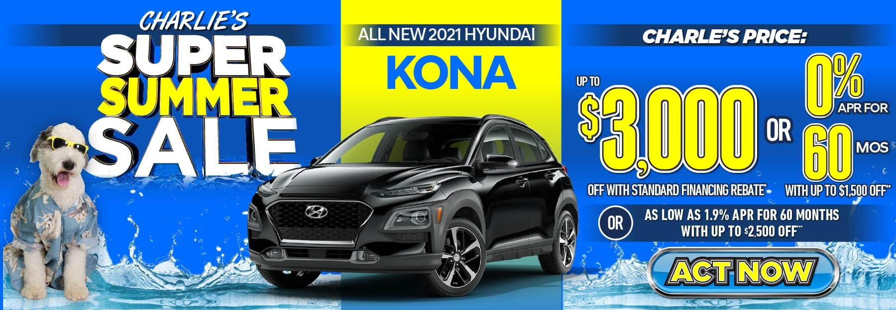 2021 Kona up to $3000 off with standard financing rebate or 0% APR for 60 months with up to $1500 off or as low as 1.9% APR for 60 months with up to $2500 off. Act Now.