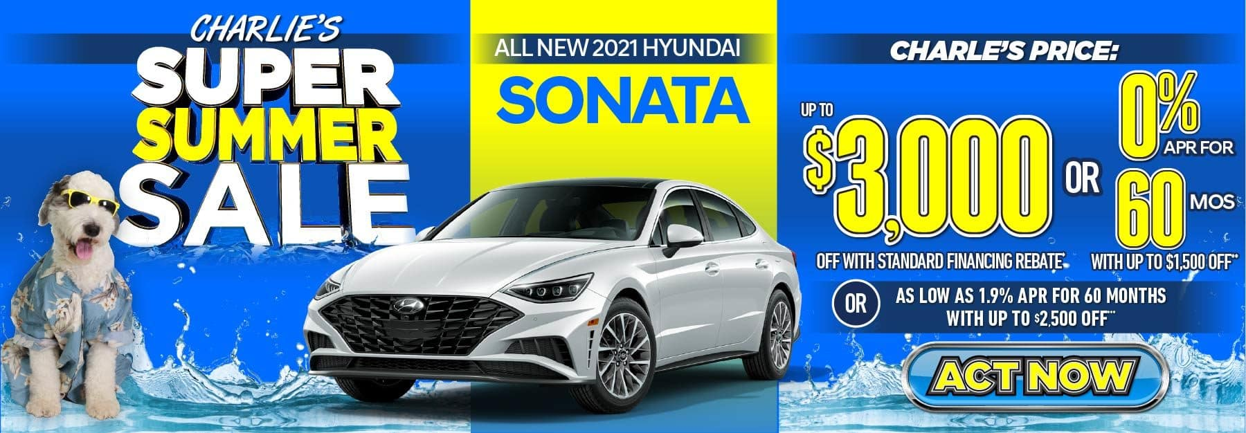 2021 Sonata up to $3000 off with standard financing rebate or 0% APR for 60 months with up to $1500 off or as low as 1.9% APR for 60 months with up to $2500 off. Act Now.