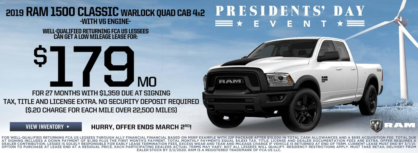 RAM 1500 4X4 Presidents' Day Sale Lease Price