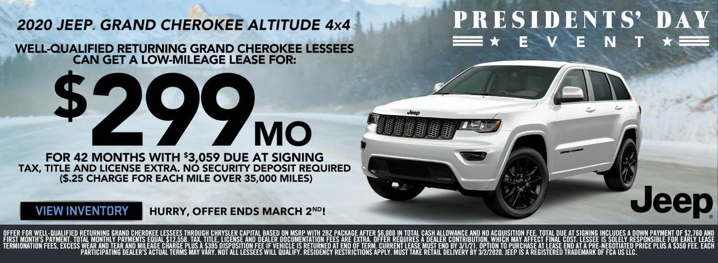 Jeep Grand Cherokee Lease Price Presidents' Day Sale