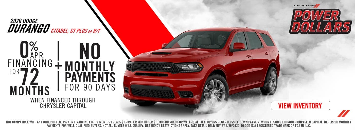 0% APR for 72 Months on Dodge Durangos