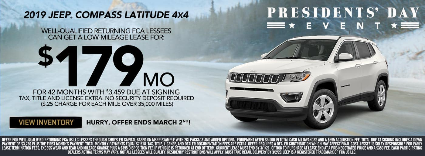 Jeep Compass Presidents' Day Special Lease Price