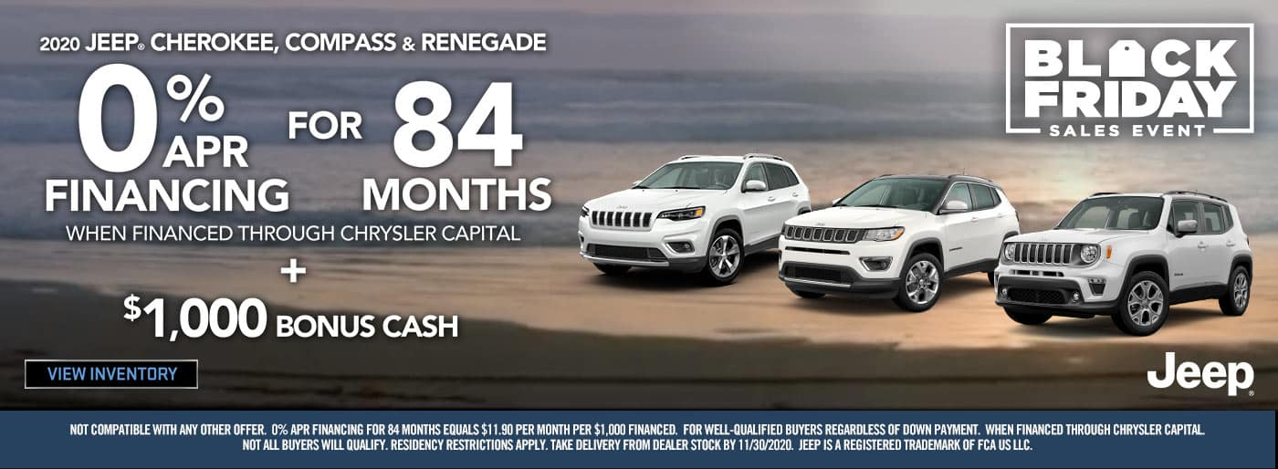 0% for 84 months on Cherokee, Compass, Renegade