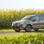 A olive green 2017 used Subaru Forester XT parked with a corn field in the background.