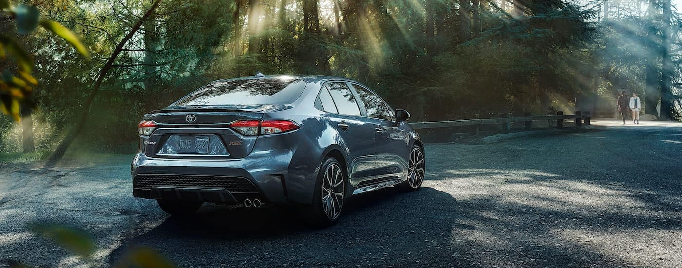 A grey 2020 Toyota Corolla is parked in a wooded area in the shade near Indiana, PA.