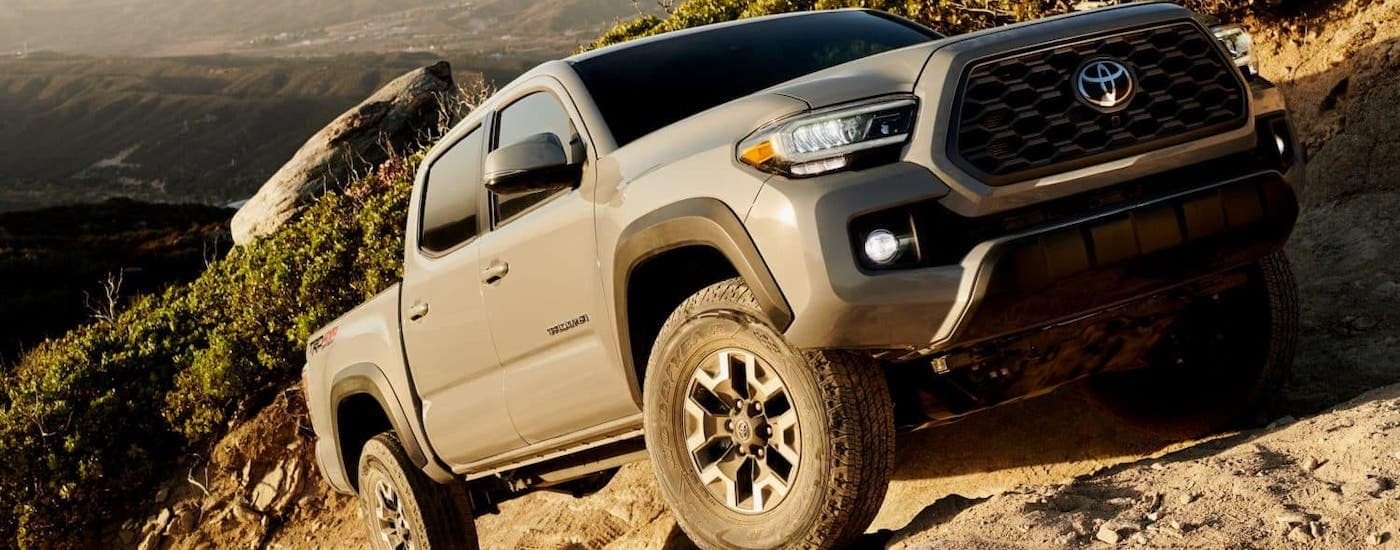 A popular Toyota model, a gray 2020 Toyota Tacoma TRD Off-Road is rock climbing and covered in dirt.
