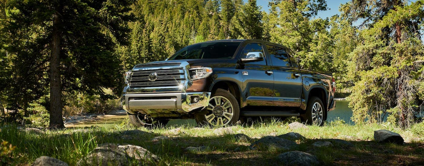 A black 2020 Toyota Tundra 1794 is parked in the woods.
