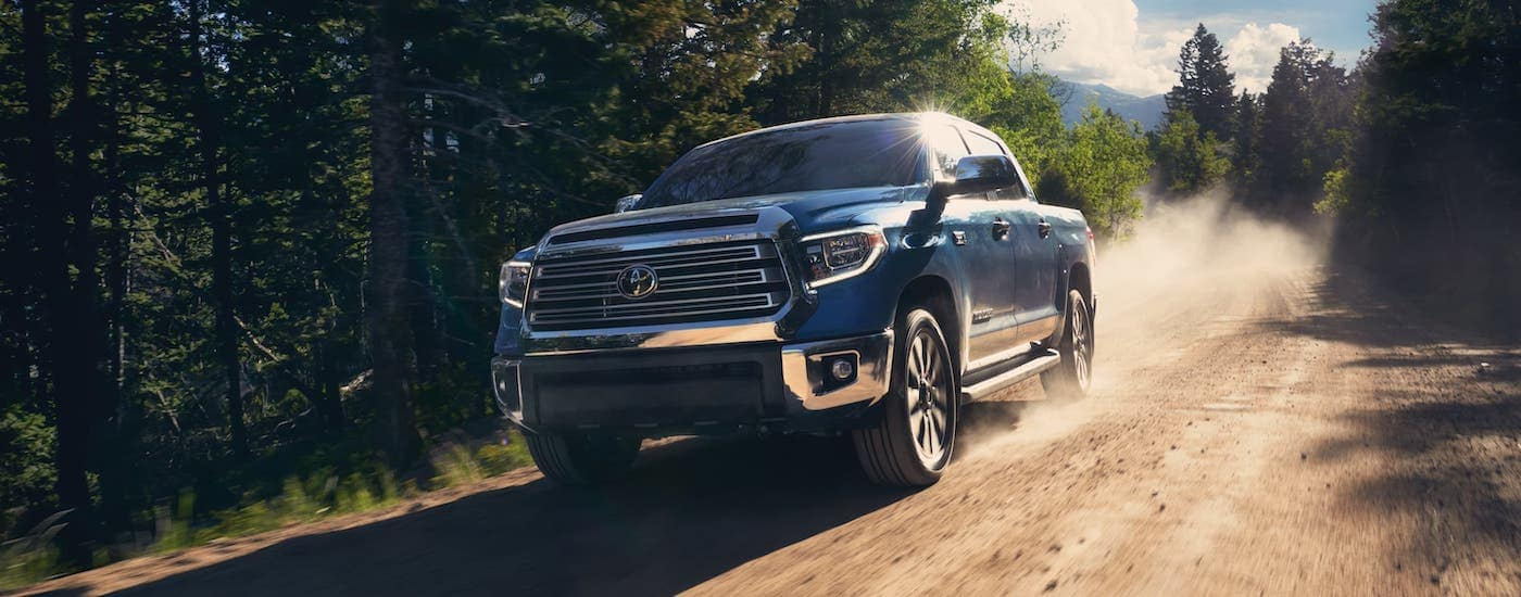 A blue 2020 Toyota Tundra Platinum is off-roading outside Indiana, PA.