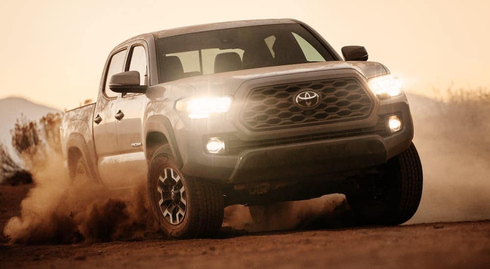 A dirty 2020 Toyota Tacoma is off-roading after leaving a Toyota dealership near me in Indiana, PA.