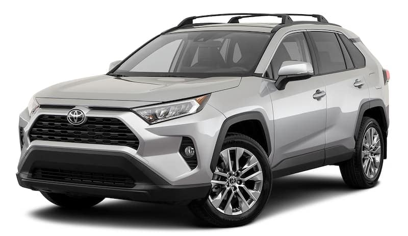 A silver 2020 RAV4 is facing left.