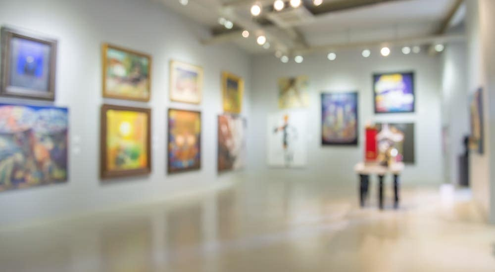 A blurry image is shown of an art museum near Pittsburgh, PA.