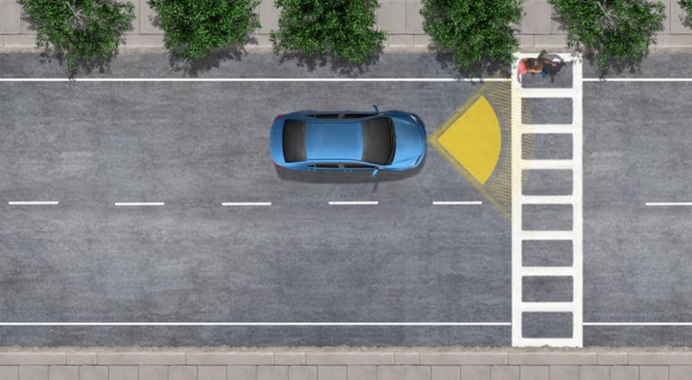 A diagram shows a blue car using the Pre-Collision System to avoid hitting a pedestrian.
