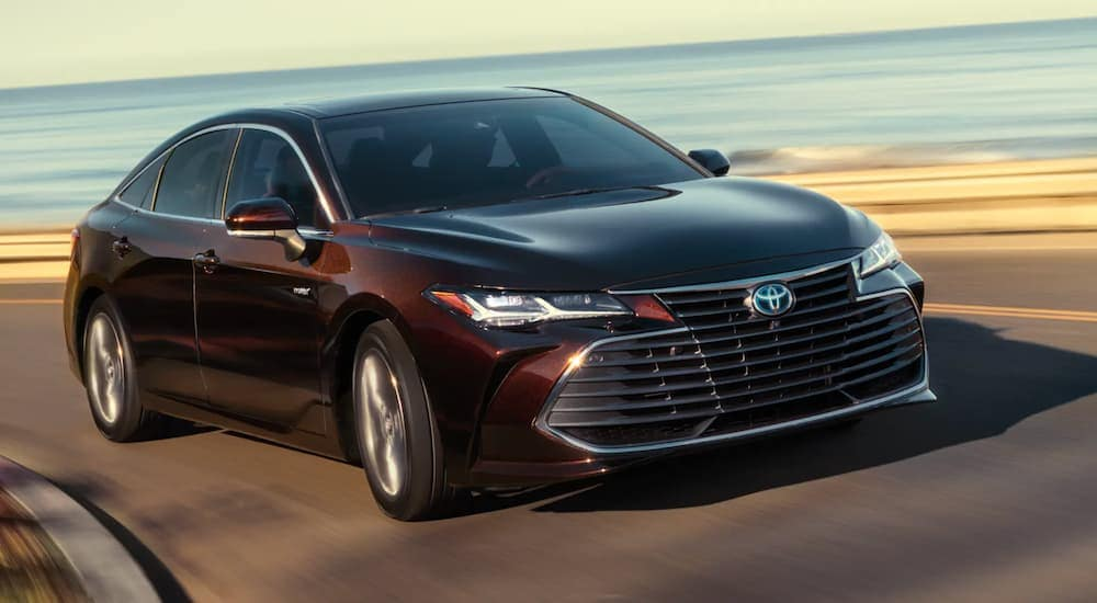 A dark brown 2020 Toyota Avalon Hybrid is driving past a beach.
