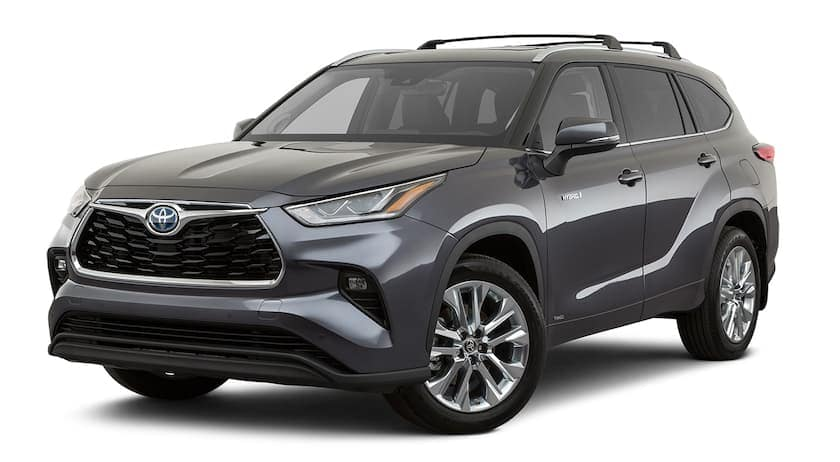 A dark grey 2020 Toyota Highlander Hybrid is facing left.