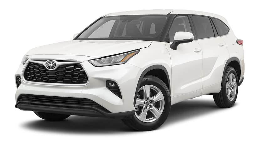 A white 2020 Toyota Highlander is facing left.