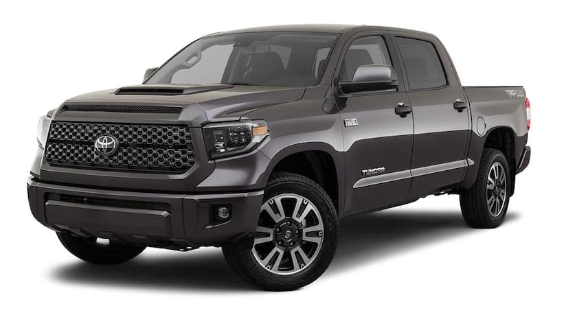 A dark grey 2020 Toyota Tundra is facing left.