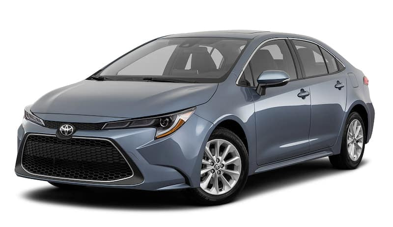A grey-blue 2020 Toyota Corolla is angled left.