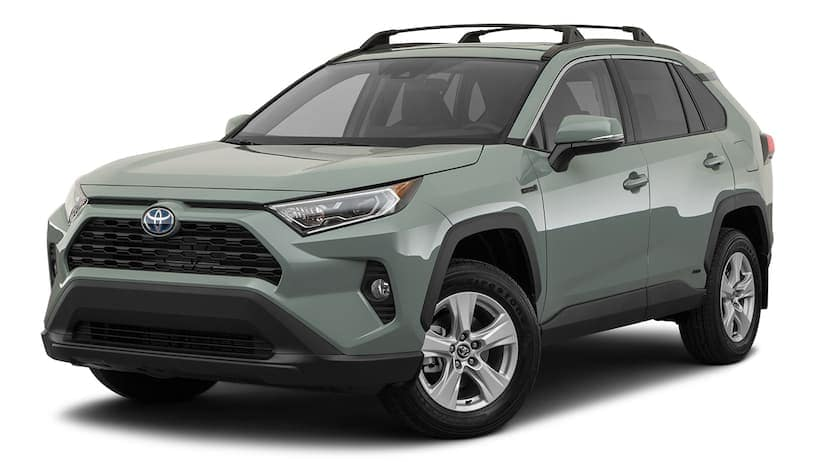 A green 2020 Toyota RAV4 Hybrid is facing left.
