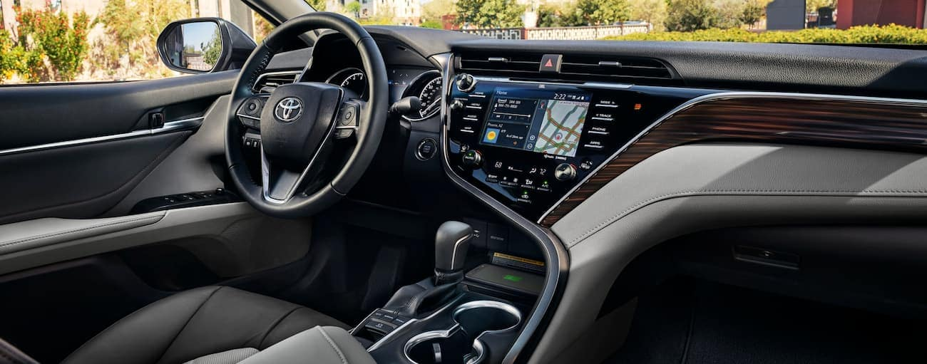The interior of a 2020 Toyota Camry is shown.