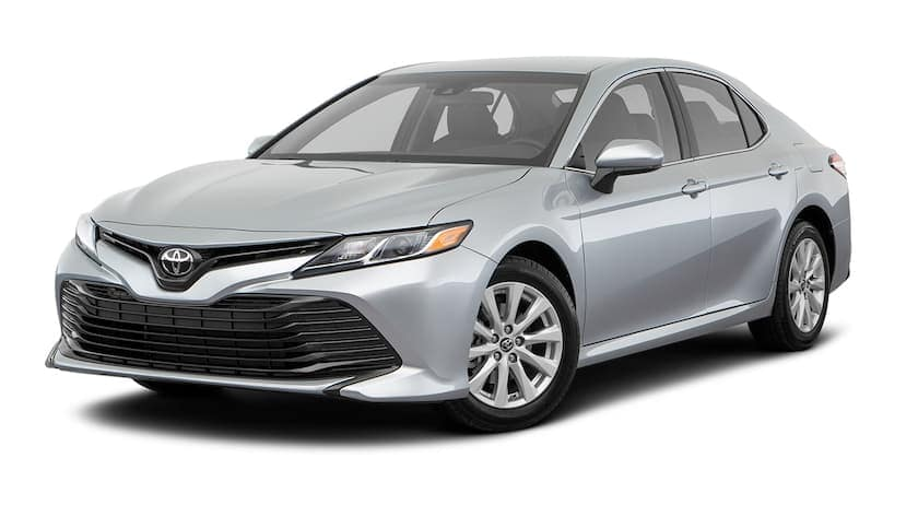 A silver 2020 Toyota Camry is angled right.