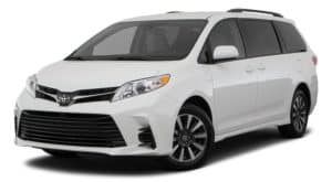 A white 2020 Toyota Sienna is angled left.
