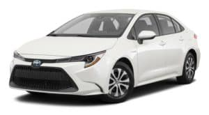 A white 2021 Toyota Corolla is angled left.