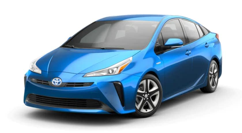 A blue 2021 Toyota Prius is angled left.