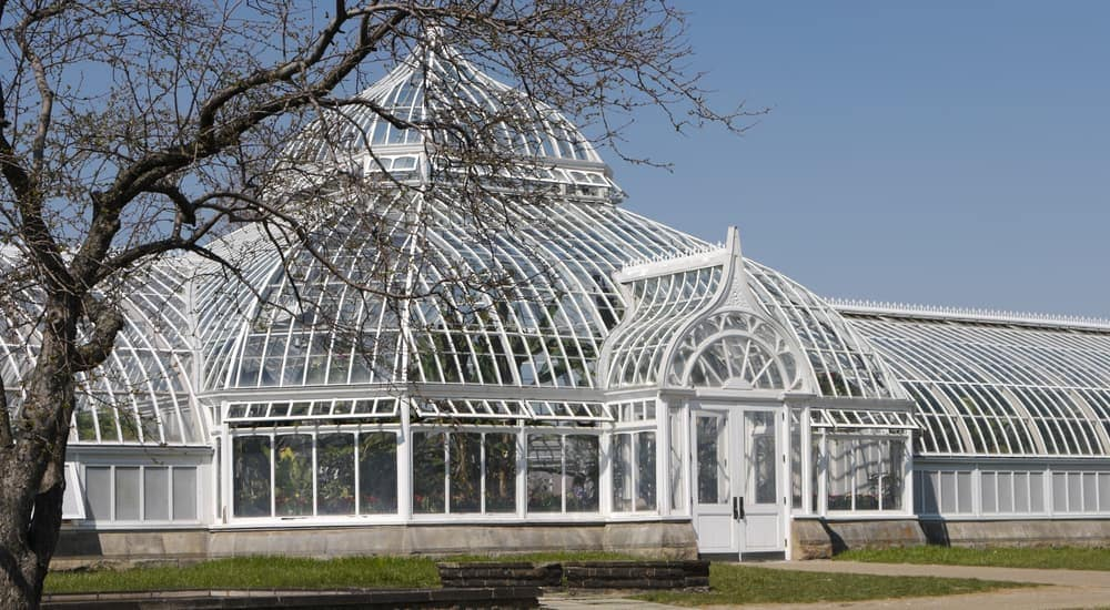 The Phipps Conservatory building in Pittsburg is shown.