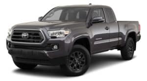 A dark grey 2021 Toyota Tacoma is angled left.