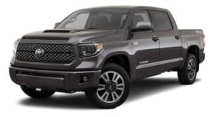 A dark grey 2021 Toyota Tundra is angled left.