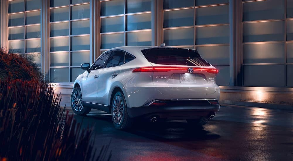 A silver 2021 Toyota Venza is shown from the rear.